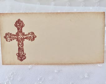 Cross Christening Baptism Place cards / Placecards Food Buffet Signs Set of 10