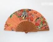 Gift for bridesmaids - Spring bridal hand fan - Spanish hand fan - Kawaii flowers coral - Olele hand fan