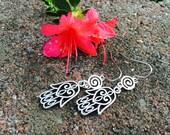 CHAMSA Dangle Earrings Pretty Filigree Metal Lace Look Hidden HEART with Swirl Link Feminine Fancy Fun Youthful Daily wear Bat Mitzvah