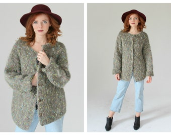 Gray Confetti Knit Sweater- Slouchy Grey, Vintage Minimalist Chic Multicolor Fuzzy, Cardigan, Button up