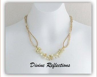 Cream Crystal Teardrop Necklace,Double Strand Crystal Necklace