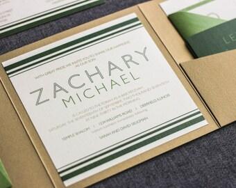 "Green Bar Mitzvah Invitation, Golf Party Invitations, Modern Irish Wedding Invites, Pantone Greenery Invitations - ""Striped Mitzvah"" PF-NL"