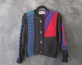 80s Cropped Abstract Cardigan Sweater Wearable Art Colorful Asymmetrical Knit Top Ladies S/M
