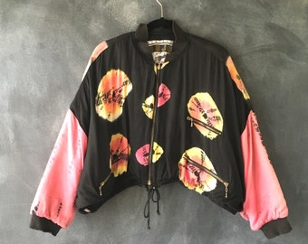 90s Tie Dye Cropped Bomber Flight Jacket Padded Oversized Hipster Jacket Size OSFM