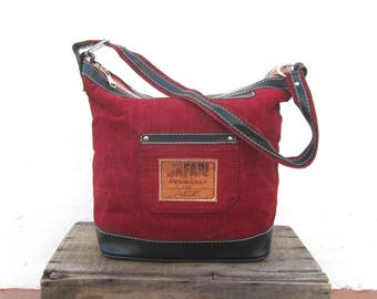 70s Avondale Tool Bucket Hobo Purse Red Canvas Leather Shoulder Bag Americana