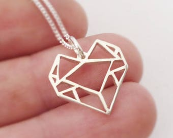 Sterling silver Origami inspired Heart Pendant