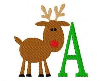 Reindeer Christmas Monogram Machine Embroidery Font Design Set // Joyful Stitches