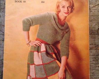 Vintage 1960 Bernat Fashions in Mohairspun Mohairlaine Angora Knitting Pattern Book 89