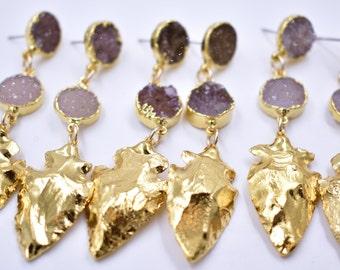 GOLD ARROWHEAD EARRINGS /// Druzy earrings /// 24kt Gold Plate