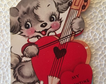 Vintage Valentine Dog an Fiddle Sweet 1960's or Earlier Retro