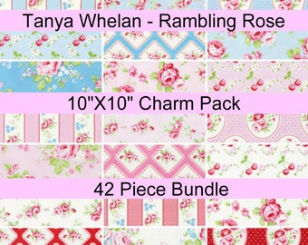 """SALE - Rambling Rose - Tanya Whelan  - 10"""" x 10"""" Layer Cake Squares - 42 PIECE BUNDLE - Cotton"""