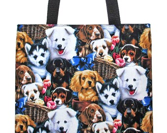 Multi Breed Puppies Dogs Carryall Tote Bag - Ready to Ship