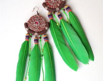 Long Green Tribal Feather Earrings, Colorful Wild Earrings Dreamcatcher Style, Aztec Earrings