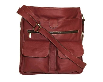 "11"" Laptop Cherry Red Leather Messenger Bag Iris // Leather Cross-body Bag"