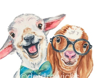 Goat Watercolour Painting - 5x7 Print, Watercolor Nursery Art, Best Friends, Baby Goat, Animal with Glasses