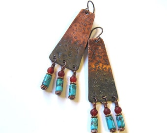 Copper and turquoise beaded earrings Long gemstone boho tribal dangles Bohemian gypsy jewelry Rustic hippie earrings