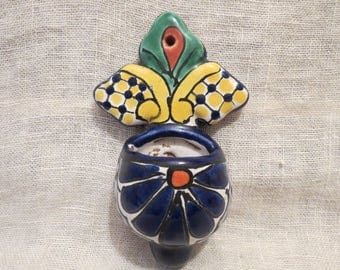 "Talavera Mexico Pottery Match or Tiny Plant Holder Wall Hanging 4.75""H"