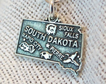 South Dakota State Souvenir Sterling Silver Charm