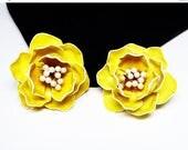 Yellow Enamel Rose Earrings - Flower Power Clip on Earrings - Flower Blossom Earrings - Mid Century Mod 1960's 1970's Jewelry