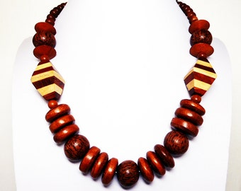 Retro Wood Bead Necklace - Brown Wood Necklace - Opera Length Retro Design - Laminated Brown & Blonde Beads - Vintage 1980's 1990's Boho