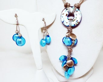 Morrocan Blue Y Necklace & Pierced Earrings Set - Dangling Beads - Sterling Silver Chains - Turquoise Blue Art Glass Donut - Vintage 1990s