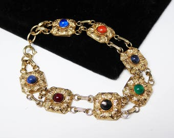 Victorian Gold Filled Flower Bracelet - Floral Links - Gemstones in Salmon, Black, Green, Grey, Carnelian Orange, Blue - Vintage 1930s 1940s