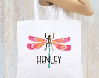 Personalized Tote Bag, Beach Tote, Dragonfly Tote Bag Monogrammed Tote Bag Personalized Gift Bridesmaid Tote Bag Beach Bag Personalized Gift