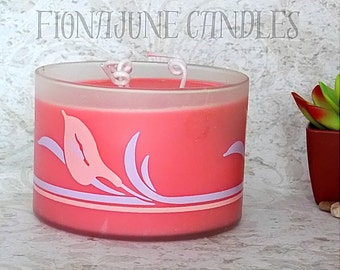 Handmade Soy Wax Three Wick Candle in Painted Frosted Glass Jar, Magnolia Fragrance, Vegan Candle, Pink Jar Candle