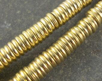 Brass Beads, Brass Spacers, Metal Beads, Round Spacers Round Beads, Plated Brass Bead, 6mm Beads, Donut Shape Bead - 50 Beads