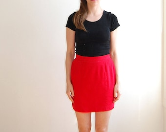 vintage red wool mini skirt