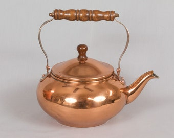 Vintage Copper Tea Kettle, Wooden handles, Kitchen decor, Collectible copper, 1984, Made in Taiwan, Untouched patina