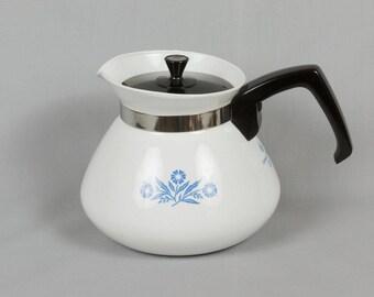 Corning ware teapot, 6 cup, Corn Flower design, Corningware teapot, Vintage corning ware, Corning ware kitchen, Shows little wear, P-104
