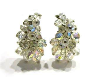 Vintage Crystal Clip Earrings Wedding Jewelry Aurora Borealis Lugana Signed Clip Earrings Bridal Designer Under 20 Jewelry