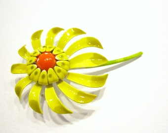 Vintage Enamel Brooch Yellow Flower Pin Gift for Her Gift for Mom Holiday Gift Idea Under 10 Hostess Gift