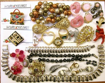 Vintage Jewelry Lot Wearable Repairable Craft Destash Jewelry Rhinestone Earrings Clip Brooches Necklaces Mary Engelbreit