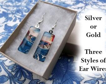 Hiroshige earrings, naruto whirlpool earrings, 1853, Japanese landscape earrings, art earrings, small glass earrings, water art earrings