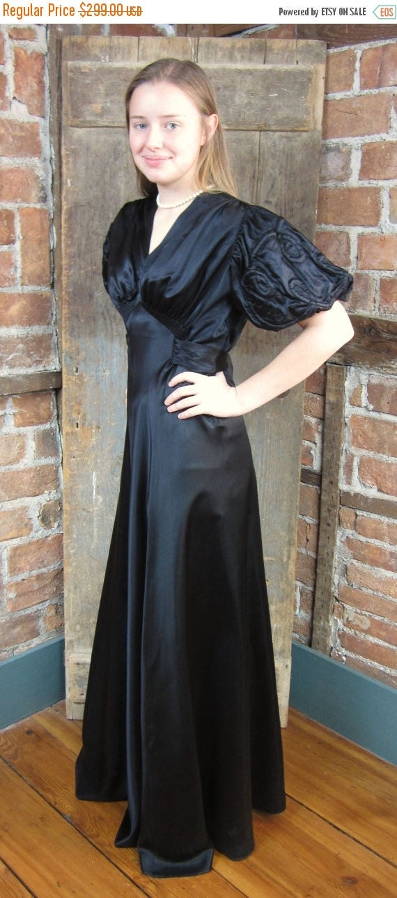 On Sale 1930's Dress. My Black Wedding. Mourning Gown Dress. Goth Gown
