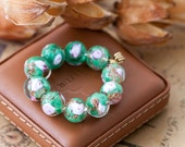 Reserved for Miss Lilac - Vintage Murano Venetian Emerald Green and Pink Rose Sommerso Glass Beads