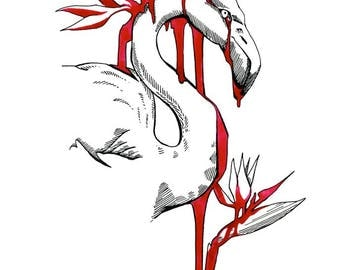 The Temper of Your Flamingo - Black and Red ink drawing of Flamingo and Birds of Paradise on white paper giclee print reproduction