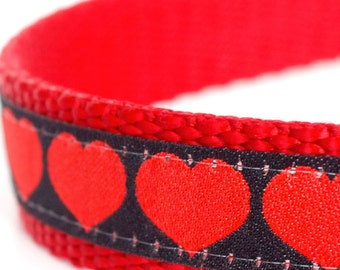 Red Hearts on Black Dog Collar, Red Pet Collar, Valentine, Adjustable Dog Collar