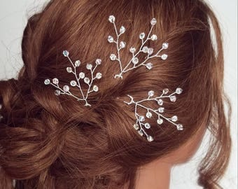 Beaded Crystal Hair Comb, Baby's Breath Hair Pins, Crystal Babies Breath Comb, Bridal Hair Pieces, Hair vine, Branches, Wedding Headpiece