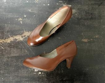 Vintage Années 40/50 Escarpins en Cuir Brun Armoric / Deux paires disponibles - Taille 37 et 38