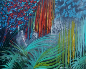 """Original Art Painting Abstract Landscape """" The Defence """" Art Abstract Landscape & Scenic Surreal , Whimsical art"""