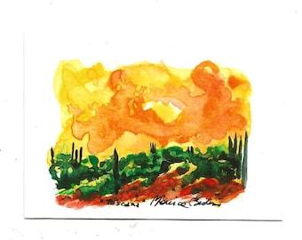 "Aceo Original Italian Landscape ACEO ART Painting Original Watercolor Landscape ""TUSCANY"" Italy  Italian Landscape & Scenic"