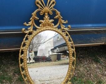 """REDUCED FREE SHIP Vtg Mid Century Gold Floral Fleur de Lis Scroll Designs Syroco Style Framed Mirror, Burwood, 34"""" x 17"""", Hollywood Regency"""