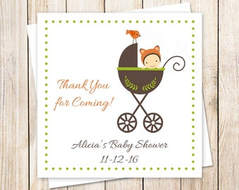 PRINTABLE baby shower tags . fox baby favor tags, stickers . thank you tags . baby carriage, stroller . personalized . You Print