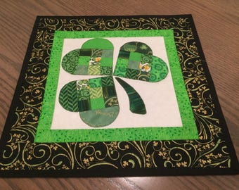 St Patrick's Quilted Patchwork Shamrock Table Topper - Quiltsy Handmade