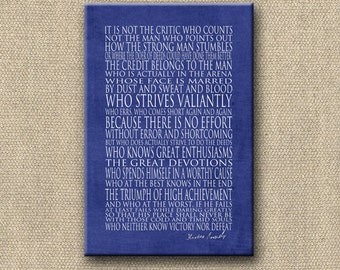 Man in the Arena - 24x36 Canvas Word Art Print - other options Print, Mounted Print, Greeting Card - Theodore Roosevelt
