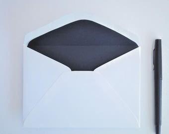 Matt Black Lined Envelopes / charcoal black / envelope liners /  Set of 10 / Gift for men / Gift for women