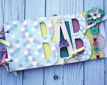 Baby girl pastel premade scrapbook album / Baby girl shower